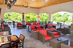 Contemporary restaurant seating by Paramount Construction and Contracting